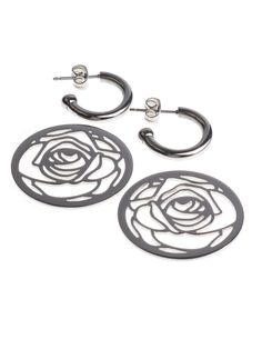 """Designed by Sofia Bobone """"Creole Darling Rose"""" is made of stainless-steel featuring a flat disk with a rose motif cut,sway down onCreole."""
