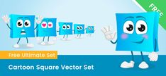 A cartoon square vector character made in a set of 6 poses. This square is perfect for learning shapes and colors. Vector Characters, Free Vector Clipart, Learning Shapes, A Cartoon, Clip Art, Pictures