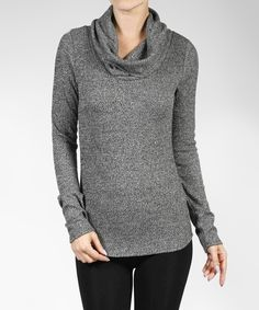 Look at this #zulilyfind! Charcoal Ribbed Cowl-Neck Top by 42POPS #zulilyfinds