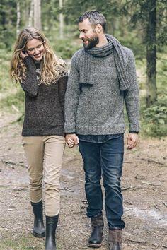 1414: Modell 20 og 17 Damegenser og herre raglangenser #Tweed #strikk #knit