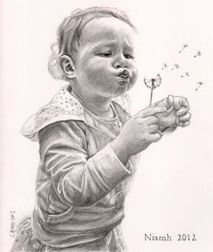 Pencil drawing of girl with dandelion by Sharon Hall of FaceArt Portraits