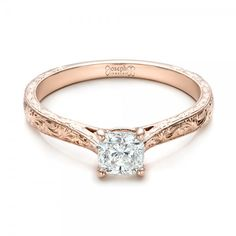 Custom Rose Gold Solitaire Diamond Engagement Ring #JosephJewelry Bellevue Seattle
