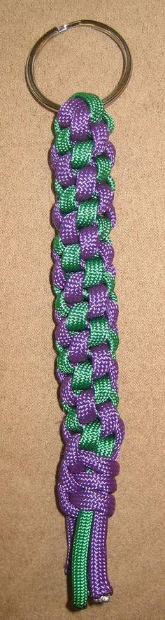 round sinnet stitch - green & purple