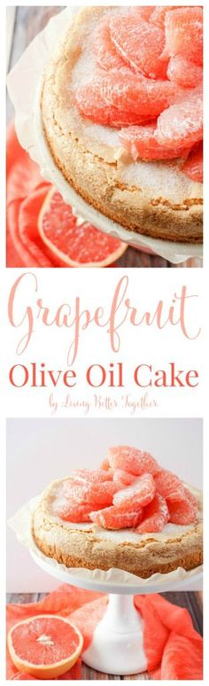 light Olive Oil Cake is brightened up with fresh and vibrant Florida Grapefruit making it perfect for brunch or dessert! It's just and 300 calories per serving, are you in love yet? Unique Desserts, Just Desserts, Delicious Desserts, Cupcakes, Cupcake Cakes, Baking Recipes, Cake Recipes, Dessert Recipes, Dishes Recipes