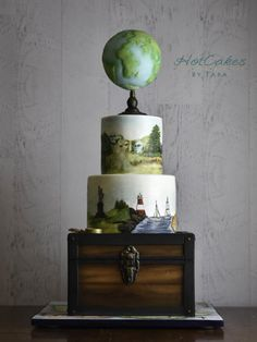 Travel themed Painted Cake by HotCakes by Tara