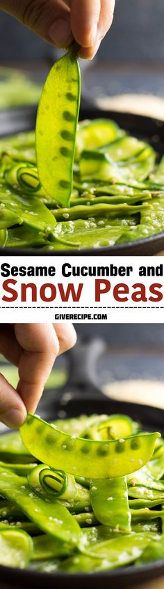 This is the easiest and quickest side dish ever. Ready in 5 minutes but sooo tasty! Cook it when snow peas are in season!   giverecipe.com   #snowpeas