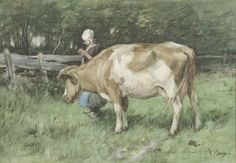Anthonij 'Anton' Mauve (Zaandam 1838-1888 Arnhem) De dubbele taak - Kunsthandel Simonis en Buunk, Ede (Nederland).