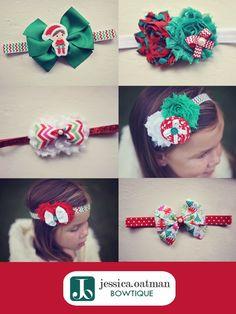 Christmas hair bows, holiday headbands, christmas headband, holiday bows, newborn headbands, elf on the shelf