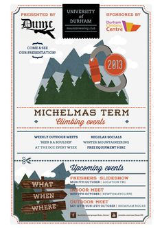 Redesign - Uni of Durham Mountaineering Club Flyer by Emily Short, via Behance