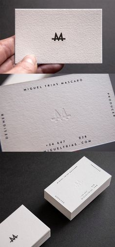 Slick Letterpress White Minimalist Design Business Card For A Designer