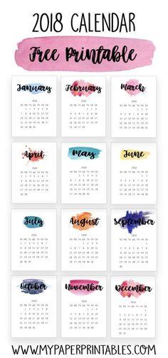 2018 free printable calendar