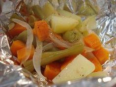 Legumes assados no papelote