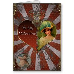 Valentines Day - Lady with a bouquet and cupid. Valentines Day - Greeting Cards in Vintage Style Vintage Valentine Cards, Valentine Day Cards, Holiday Cards, Red Play, Swing Card, Valentine's Day Greeting Cards, Heart Cards, Happy Girls, Flower Cards