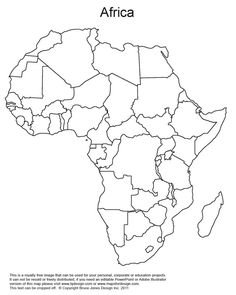 Printable Map of Africa | Africa, Printable Map with Country Borders ...
