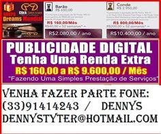 venha fazer parte da empressa click Dreams 100% legal,vc pode ganhar de 800 reais a 9mil veja o video como funciona http://sistemadreams.com
