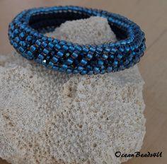 Beaded Bracelet with Swarovski/ Beaded Crochet Bracelet/ Beaded Bracelet/ Beadwork/ Armband/ Häkelarmband by OceanBeads4U on Etsy