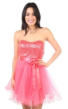 strapless sequin short graduation   dress with satin bow