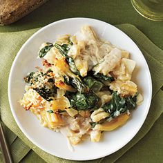 Baked Pasta with Spinach, Lemon, and Cheese Recipe