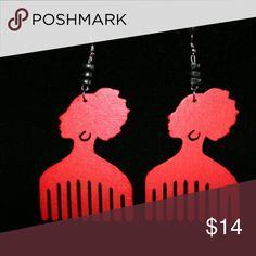 Jewelry Red wooden earrings Jewelry Earrings