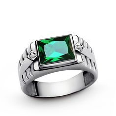 GENUINE DIAMONDS and NATURAL EMERALD 925 Sterling Silver Solid Men's Ring all sz #Unbranded #Statement