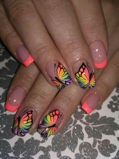 A Bit of Warmth in Manicure With Beautiful Butterflies neon pink Nail Art Designs, Butterfly Nail Designs, Butterfly Nail Art, Fingernail Designs, Cute Nail Art, Cute Acrylic Nails, Cute Nails, Pretty Nails, Cute Summer Nail Designs