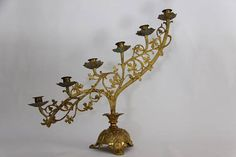 Antique French Bronze Candelabra, Church Candelabras. Jeanne DArc Living, French Nordic Decor, Santos, Christmas Centre Piece, Chateau Tableware  A rare and beautiful Bronze colored church candelabra, 6 arm candle holder. This is a genuine church candelabra, I have a few more to list in