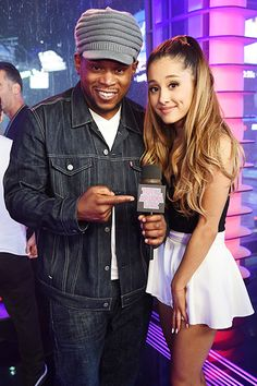 """July 2: Sway Calloway and Ariana Grande hang out at MTV Studio in Times Square, New York for a special one day only airing of """"TRL"""" for """"Total Ariana Live""""."""