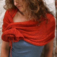 Copper Poppy Wrap Knit with Kid Mohair & Rayon wrapped Cotton Ribbon