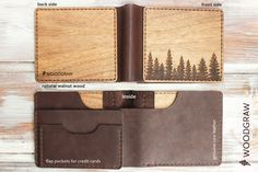 Wooden Leather Wallet Adventure World Map Travel gift Mens for