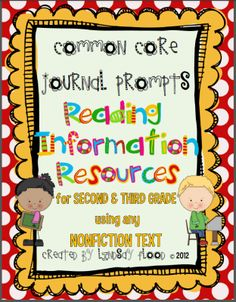 3rd Grade Reading: Informational Resources CCSS Reading Journal Prompts from PrimaryPolkaDots on TeachersNotebook.com -  (22 pages)