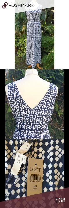 LAST CHANCE!  Double-V Knit Maxi Dress Brand new! Navy blue & white print. Sleeveless, double-v dress with tie belt. Very flattering silhouette. Comes from a smoke- and pet-free house. Bundle for additional savings! CLOSET CLOSING 6/30 to 7/20. If you like it, get it now! LOFT Dresses Maxi