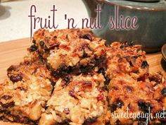 Fruit 'n Nut Biscuit Slice Learn Something New Everyday, Banana Bread, Biscuits, Food And Drink, Chicken, Meat, Fruit, Desserts, Recipes