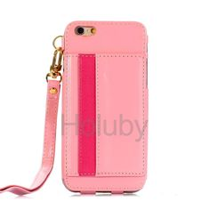 Lanyard Strap PU Leather Kickstand Case for iPhone 6 Plus 6S Plus With Card Slots Pink