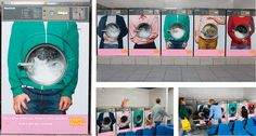 """Pepto-Bismol: Laundromat """"No matter what you throw in your stomach, Pink's got you covered."""" (by Publicis, New York, USA)"""