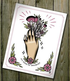 Traditional Tattoo Flash Make Up Brushes Bouquet Flower Tattoo Flash MUA Cute Digital Illustration Valentine's Day Idea Cute Pink Girly