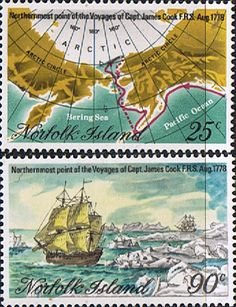 Norfolk Island 1974 Captain Cook Bicentenary Northern-most Voyages Set Fine Mint SG 213/4 Scott 235/6 Other European and British Commonwealth Stamps HERE!