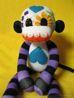 Dia De Los Muertos (Day of the Dead)  Sugar Skull Sock Monkey. $55.00. So creative and colorful!