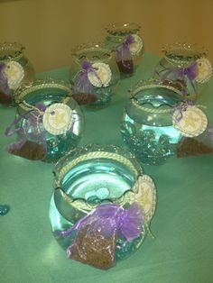 Awesome favors at a Mermaid party!   See more party ideas at CatchMyParty.com!  #partyideas #mermaid