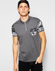 ASOS Polo Shirt With Printed Sleeve & Pocket & Zip Neck