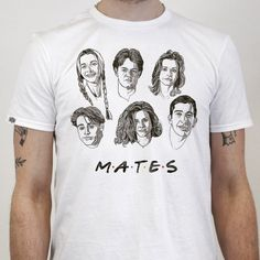 THE BEARHUG CO - M.A.T.E.S - F.R.I.E.N.D.S Limited Edition T-Shirt £23.95 + 6 x A5 Print upgrade £43.95 White Outfits, White Clothing, Mens Tops, T Shirt, A5, Clothes, Design, Artwork, Fashion