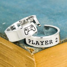 Player 1 Player 2 Ring Set Rings Gamer Couple Rings Gamer Ring Set Valentines Day Gift - Video Games - Ideas of Video Games - Player 1 & Player 2 Video Game Ring Set Gamer by fromtheinternet Couple Jewelry, Couple Rings, His And Hers Rings, His And Hers Jewelry, Gamer Couple, Stackable Diamond Rings, Horseshoe Ring, Friendship Rings, Gypsy Rings