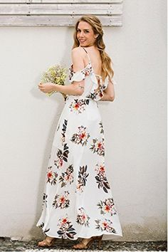Floral print ruffles chiffon long dress Women strap v neck split beach summer dress Sexy backless maxi dresses vestidos Color:White Size:S