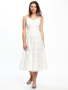 Fit & Flare Cutwork Midi Dress for Women  | Old Navy