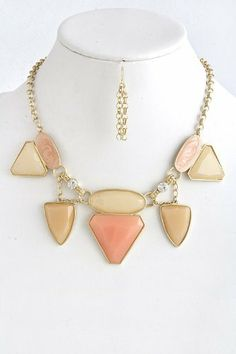 """Mix Peach Jewel Gold Chain Link Statement Necklace - Peach Mix Jewel Gold Collar Chain Link Necklace StarShine Jewelry. $15.60. Lobster claw clasp with 3"""" extender. Length approx 16"""". Lead compliant. Mixed jewel chain necklace"""