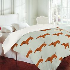 Nicole Martinez 'Dachshunds Tooth' Duvet Cover Deny Designs - love this company!!!!