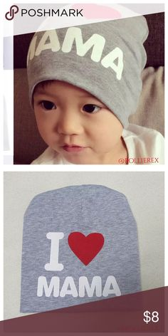 I ❤️ Mama Beanie Material: Cotton Size: 20*19cm,For 4-24 Months Color:  Gray Accessories Hats
