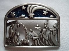 This listing is for a Vintage Signed JJ Silver pewter Blue Nativity Scene Brooch/Pin. In very good condition. I try to describe Christmas Clay, Christmas Nativity Scene, Christmas Jewelry, Vintage Christmas, Nativity Sets, Christmas Stuff, Tin Foil Art, Aluminum Foil Art, Tin Can Art