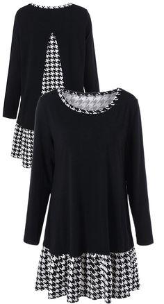 Plus Size Houndstooth Trim Back Slit T-Shirt