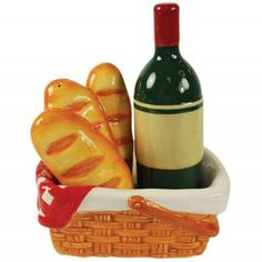 Wine Lover Tuscan Theme Picnic Basket Salt and Pepper Shaker Westland Giftware