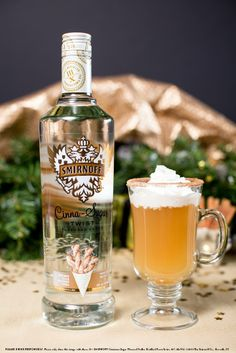 Apple Pie Cocktail with 1.5 oz Smirnoff Cinna-Sugar Flavored Vodka, 3 oz Apple Cider, Whipped Cream to top, and Cinnamon Sugar to coat the rim. Coat glass mug with cinnamon sugar. Mix all liquid ingredients. Top with whipped cream. #Smirnoff #drink #recipe #whippedcream